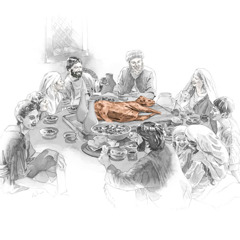 People are gathered around a table and the Passover lamb is in the middle