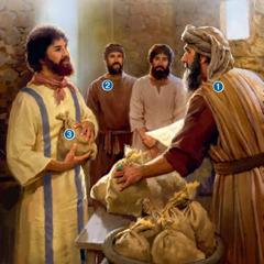 主人が奴隷たちと勘定を清算している