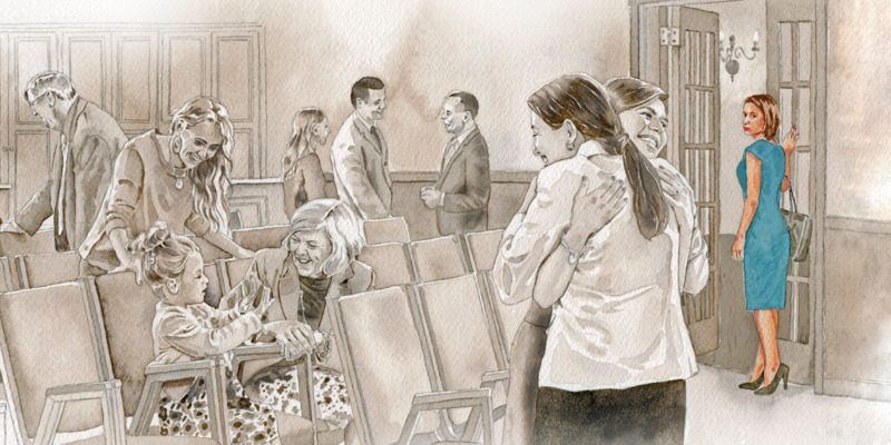 A disfellowshipped woman watches as congregation members associate with each other