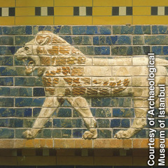 Glazed-brick frieze of a lion