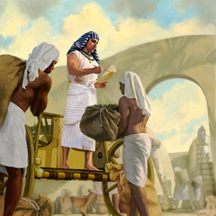 Joseph performs administrative duties for Pharaoh in Egypt