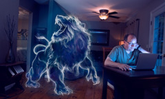 A man looks at inappropriate images on his computer at night; the sketch of a large, smiling lion appears to be in the room