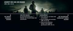 Eine Zeitleiste, die bei der großen Drangsal beginnt, stellt den Ablauf des Angriffs von Gog von Magog dar