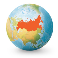 A globe with Russia highlighted