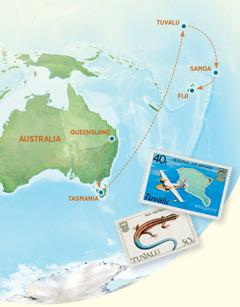 A map showing Australia, Tasmania, Tuvalu, Samoa, and Fiji