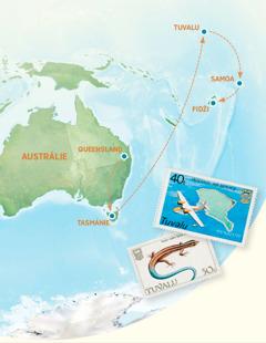 Mapka Austrálie, Tasmánie, Tuvalu, Samoy a Fidži