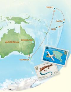 Zemljopisna karta na kojoj se vide Australija, Tasmanija, Tuvalu, Samoa i Fidži