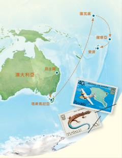 一幅地圖標示澳大利亞,塔斯馬尼亞,圖瓦盧,薩摩亞,斐濟