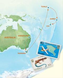Peteĩ mápa ohechaukáva moõpa opyta Australia, Tasmania, Tuvalu, Samoa ha Fiyi