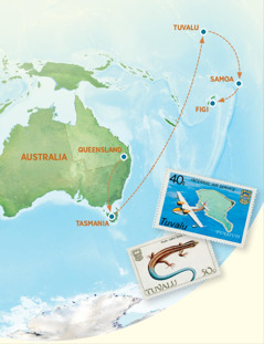 Una cartina geografica su cui sono indicate l'Australia, la Tasmania, le Tuvalu, le Samoa e le Figi