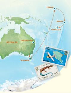 Kort af Ástralíu, Tasmaníu, Túvalú, Samóa og Fídjíeyjum.