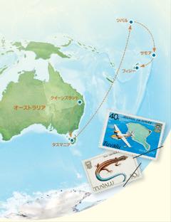 オーストラリア,タスマニア,ツバル,サモア,フィジーの位置を示す地図