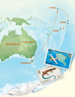 Žemėlapis, kuriame yra Australija, Tasmanija, Tuvalu, Samoa ir Fidžis