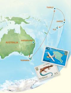 Et kart som viser Australia, Tasmania, Tuvalu, Samoa og Fiji