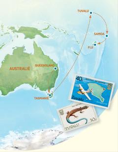 Een kaart met Australië, Tasmanië, Tuvalu, Samoa en Fiji