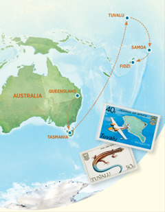 Mapa przedstawiająca Australię, Tasmanię, Tuvalu, Samoa iFidżi