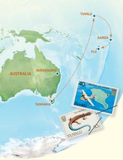 Isang mapa na nagpapakita kung saan ang Australia, Tasmania, Tuvalu, Samoa, at Fiji
