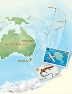 Awusttiraaliyaa, Tazimeniyaa, Tuvalu, Samoˈanne Fiji biittata bessiya karttaa
