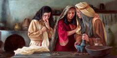 요안나와 다른 여자들이 예수의 장례를 위해 향료를 준비하고 있다