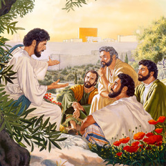 On the Mount of Olives, Jesus speaks with some of his apostles