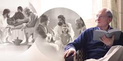 En moden kristen bror leser i Bibelen og ser for seg forskjellige ting Jesus gjorde