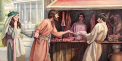 At an ancient meat market, a couple is offended when they observe a fellow Christian buying meat
