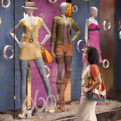 A Christian woman looks at worldly fashions on display in a store window