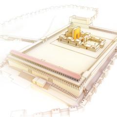 Uma representação artística do templo e da muralha em sua volta
