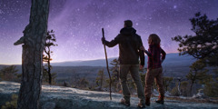 A couple goes for a hike on a starlit night