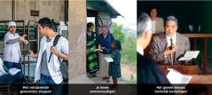 1. Een man slaat een sigaret af; 2. Een zuster predikt in het buitenland; 3. Een broeder in een rechtszaal