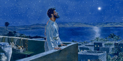 A man in Bible times meditates on a rooftop at night