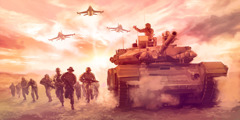 جنود، دبابة حربية، وقاذفات قنابل
