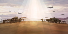 Soldiers, army tanks, and bomber planes