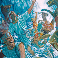 The waters of the Red Sea begin to cover Pharaoh and his army