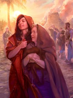 Rahabu na familia yake wanasimama katikati ya magofu ya Yeriko