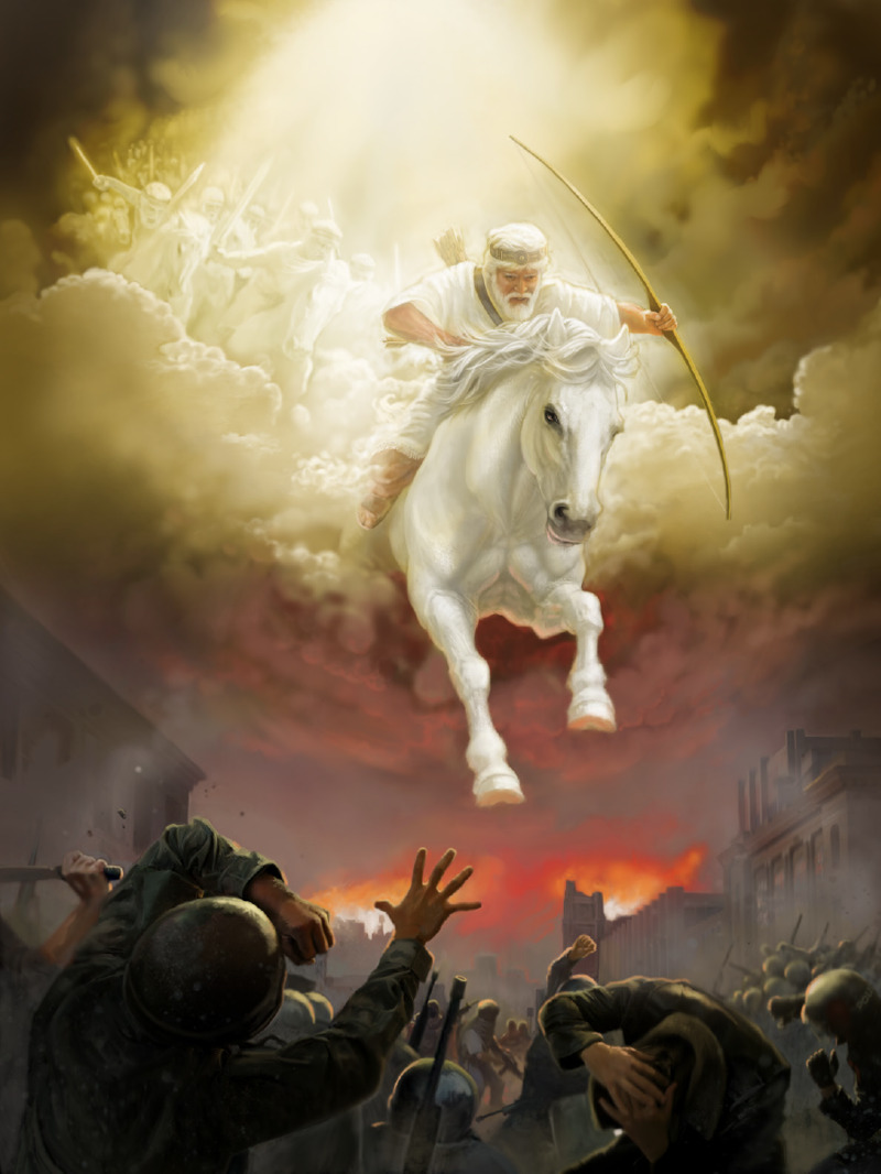 Jesus and his angels ride on white horses at Armageddon