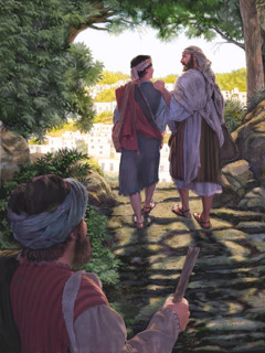 The apostle Paul and Timothy walk together