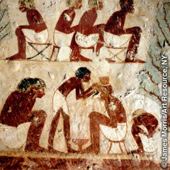 An ancient Egyptian wall painting that shows a barber at work