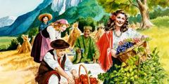Ljudje različnih ras se veselijo življenja v raju.