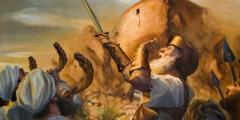 Prester blåser i værhorn, Josva setter i et krigsrop, og Jerikos bymur begynner å rase sammen