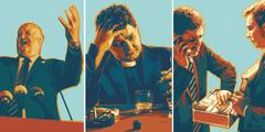 En politiker håller tal, en präst röker och dricker och två affärsmän stjäl pengar.