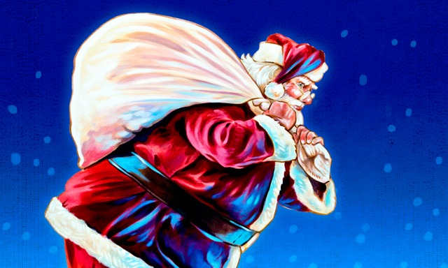 Santa Claus con una bolsa grande llena de regalos sobre su hombro