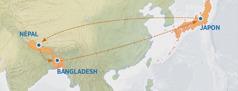 Une carte indiquant un itinéraire: départ du Japon vers le Népal, puis du Népal vers le Bangladesh et retour au Japon