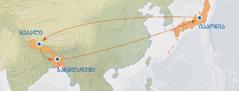 რუკაზე ისრით ნაჩვენებია გზა იაპონიიდან ნეპალამდე, ნეპალიდან ბანგლადეშამდე და ბანგლადეშიდან უკან, იაპონიამდე