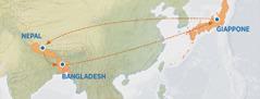 Una cartina che mostra l'itinerario percorso fra Giappone, Nepal e Bangladesh, e di nuovo in Giappone