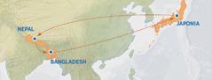 O hartă care arată traseul din Japonia în Nepal, Bangladesh şi înapoi în Japonia