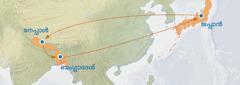 ജപ്പാനിൽനിന്ന് നേപ്പാളിലേക്കും ബംഗ്ലാദേശിലേക്കും തിരികെ ജപ്പാനിലേക്കും ഉള്ള യാത്രാമാർഗം കാണിക്കുന്ന ഒരു ഭൂപടം