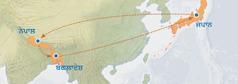 ਨਕਸ਼ੇ 'ਤੇ ਜਪਾਨ ਤੋਂ ਨੇਪਾਲ, ਬੰਗਲਾਦੇਸ਼ ਅਤੇ ਮੁੜ ਜਪਾਨ ਆਉਣ ਦਾ ਰਾਹ ਦਿਖਾਇਆ ਗਿਆ