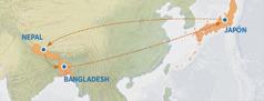 Un mapa en el que se muestra la ruta de Japón a Nepal y Bangladesh, y de vuelta a Japón