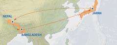 Isang mapa na nagpapakita ng ruta mula Japan papuntang Nepal, Bangladesh, at pabalik sa Japan